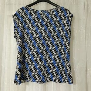 Blue and Black Blouse